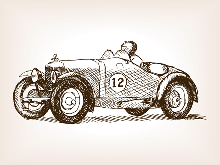 Retro sport race car vehicle sketch style vector illustration. Old engraving imitation. Vintage car hand drawn sketch imitation