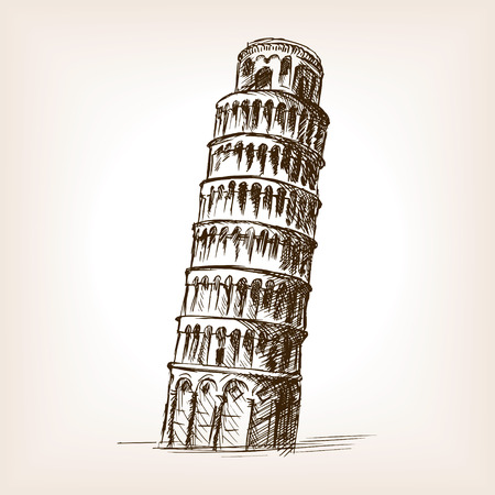 leaning tower: Leaning tower of Pisa sketch style vector illustration. Old engraving imitation. Pisa Tower landmark hand drawn sketch imitation