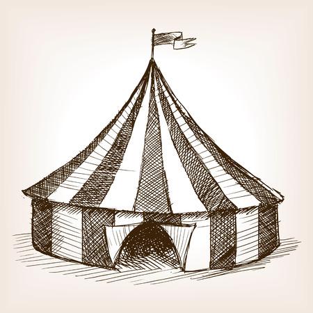 ilustración del vector del estilo del bosquejo del vehículo carpa de circo de época. Grabado antiguo de imitación. Vintage mano carpa de circo dibujado imitación boceto