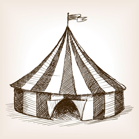 Vintage circus tent vehicle sketch style vector illustration. Old engraving imitation. Vintage circus tent hand drawn sketch imitation