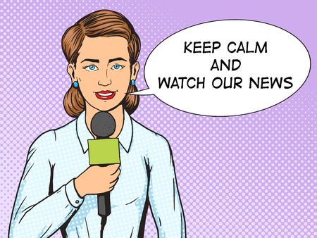 Television verslaggever journalist vrouw pop art stijl vector illustratie. Verslaggever van TV met microfoon. Illustratie menselijk. Comic book stijl imitatie. Vintage retro stijl. conceptuele illustratie