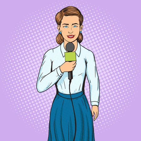 tv reporter: Television reporter journalist woman pop art style vector illustration. TV reporter with microphone. Human illustration. Comic book style imitation. Vintage retro style. Conceptual illustration