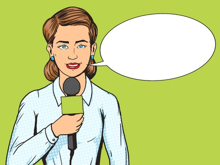 Television reporter journalist woman pop art style vector illustration. TV reporter with microphone. Human illustration. Comic book style imitation. Vintage retro style. Conceptual illustration