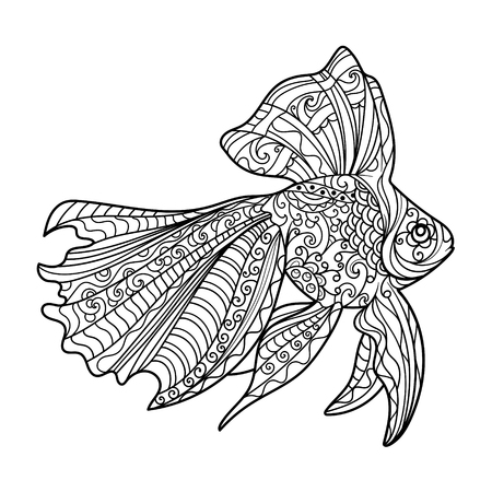 Gold Fish Coloring Book For Adults Vector Illustration. Royalty Free ...
