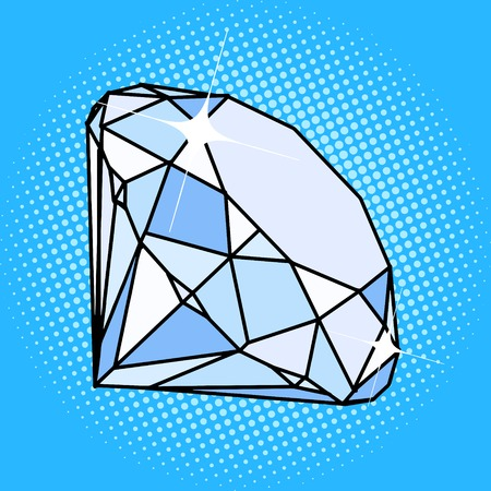 Diamond gemstone pop art style vector illustration. Comic book style imitation. Vintage retro style. Conceptual illustration