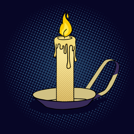 lighted: Lighted candle pop art style vector illustration. Comic book style imitation. Vintage retro style. Conceptual illustration Illustration