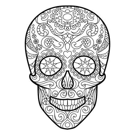 Hunan Skull Coloring Book For Adults Vector Illustration. Royalty ...