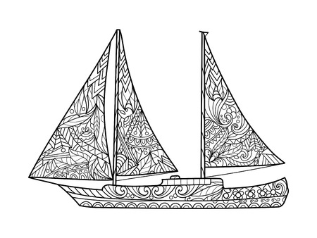 adults: Sailboat coloring book for adults vector illustration. Illustration