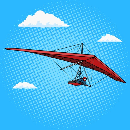 hang glider: Hang glider pop art style vector illustration. Comic book style imitation. Vintage retro style. Conceptual illustration