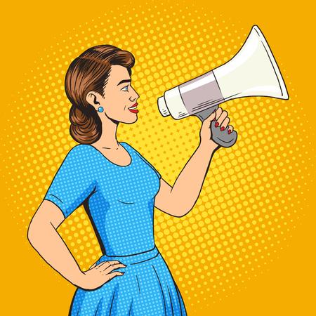 メガホン pop アート スタイルのベクトル図と女性。ヒューマン ・ イラストレーション。コミック スタイルの模倣。ヴィンテージ レトロなスタイル