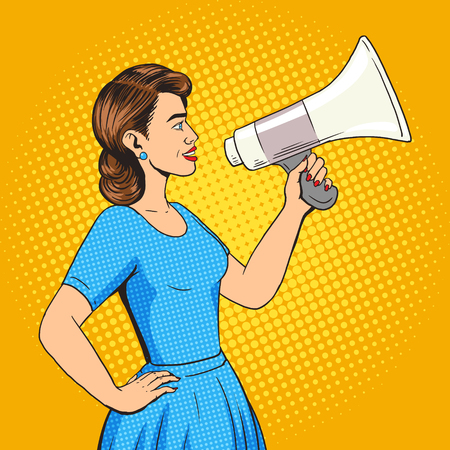 Woman with megaphone pop art style vector illustration. Human illustration. Comic book style imitation. Vintage retro style. Conceptual illustration