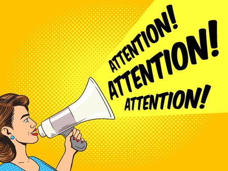 speaking trumpet: Woman with megaphone pop art style vector illustration. Human illustration. Comic book style imitation. Vintage retro style. Conceptual illustration