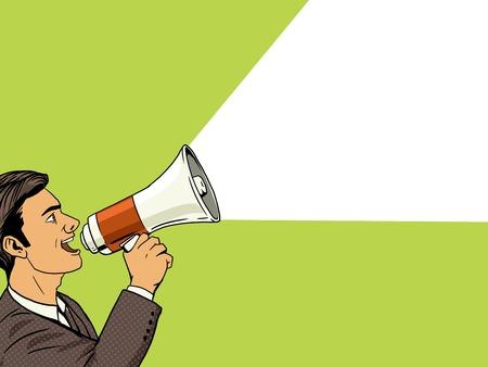 Homme d'affaires avec un mégaphone pop style vecteur art illustration. illustration humaine. Comic imitation de style livre. Vintage style rétro. illustration conceptuelle