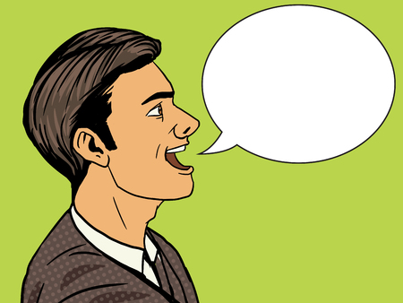 banter: Man speak pop art style vector illustration. Human illustration. Comic book style imitation. Vintage retro style. Conceptual illustration Illustration