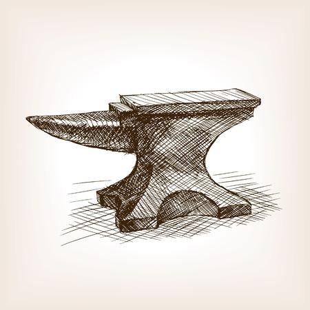 Anvil croquis style vecteur illustration. Old tiré par la main Gravure imitation. objet Vintage illustration