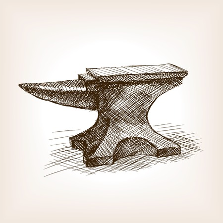 ironworks: Anvil sketch style vector illustration. Old hand drawn engraving imitation. Vintage object illustration
