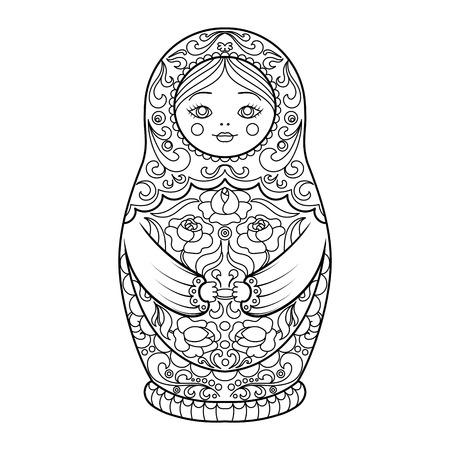 muñecas rusas: libro para colorear Matryoshka para la ilustración vectorial adultos.