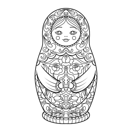 Matryoshka coloring book for adults vector illustration.