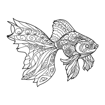 black and white line drawing: Gold fish coloring book for adults vector illustration.