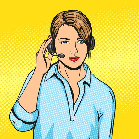ヘッドセット ポップアート ベクトル図とテクニカル サポートの女性。漫画本の模倣。カラフルな手描きの図