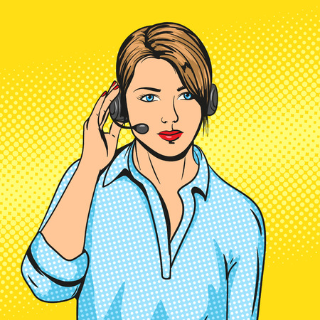 Technical support woman with headset pop art vector illustration. Comic book imitation. Colorful hand drawn illustration