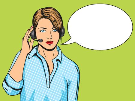 Technische Unterstützung Frau mit Headset Pop-Art-Vektor-Illustration. Comic-Imitation. Bunte Hand gezeichnete Illustration