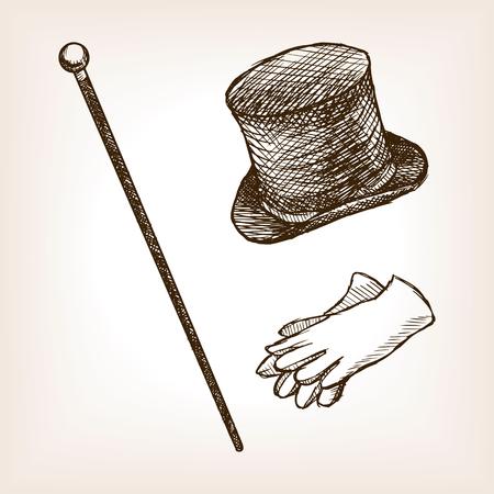 Vintage clothes cylinder cane gloves sketch style illustration. Old engraving imitation. Vintage object illustration