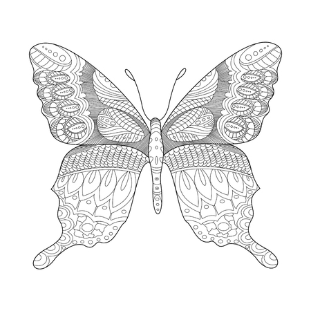 abstract animal: Butterfly coloring book for adults illustration. Anti-stress coloring for adult. style. Black and white lines. Lace pattern Illustration