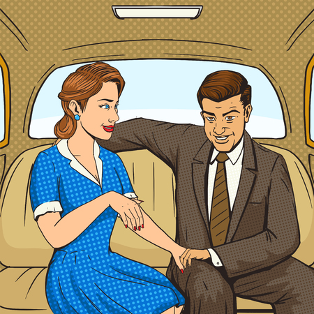 couple talking: Married couple talking in taxi pop art style illustration. Human illustration. Comic book style imitation. Vintage retro style. Conceptual illustration