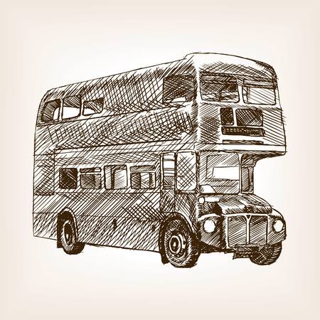 rough draft: Retro London bus vehicle sketch style vector illustration. Old engraving imitation. Vintage bus hand drawn sketch imitation