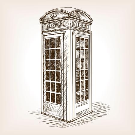 ilustración vectorial de la vendimia de Londres cabina de teléfono del estilo del bosquejo. Vieja mano dibuja la imitación de grabado. ilustración objeto de la vendimia Ilustración de vector