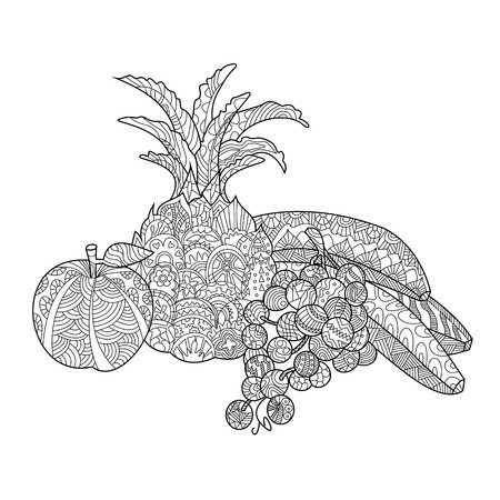 Fruits still life coloring book for adults vector illustration. Anti-stress coloring for adult. Zentangle style. Black and white lines. Lace pattern
