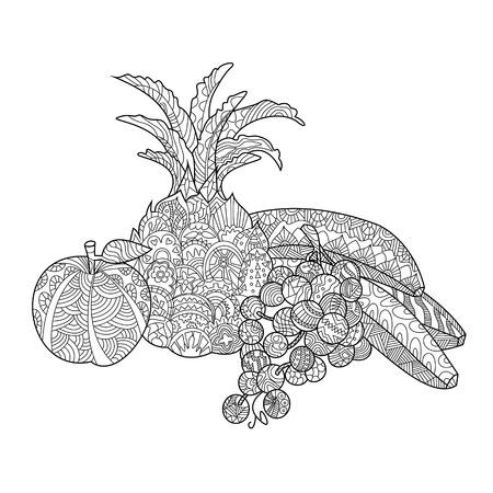 Todavía de las frutas vida colorear libro para adultos ilustración vectorial. Antiestrés colorear para adultos. estilo de Zentangle. líneas blancas y negras. modelo del cordón