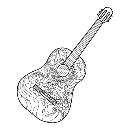 성인 벡터 일러스트 레이 션 어쿠스틱 기타 색칠하기 책. 성인 색칠 안티 - 스트레스. Zentangle 스타일. 검은 색과 흰색 선. 레이스 패턴 일러스트