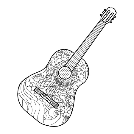 Acoustic guitar coloring book for adults vector illustration. Anti-stress coloring for adult. Zentangle style. Black and white lines. Lace pattern