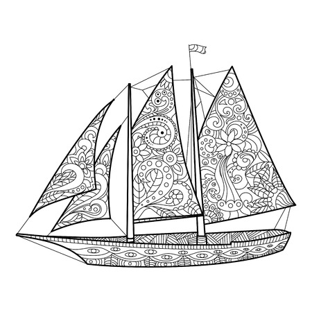 Sailboat coloring book for adults vector illustration. Anti-stress coloring for adult. Zentangle style. Black and white lines. Lace pattern