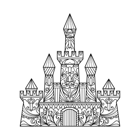 Castle coloring book for adults vector illustration. Anti-stress coloring for adult. Zentangle style. Black and white lines. Lace pattern