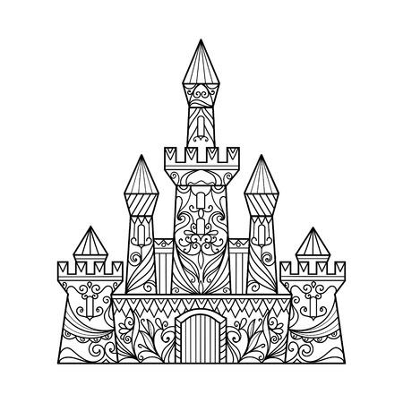 Castillo libro de colorante para los adultos ilustración vectorial. Antiestrés colorear para adultos. estilo de Zentangle. líneas blancas y negras. modelo del cordón