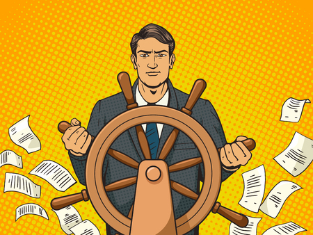 Businessman with ship steering wheel pop art vector illustration. Human illustration. Comic book style imitation. Vintage retro style. Conceptual illustration