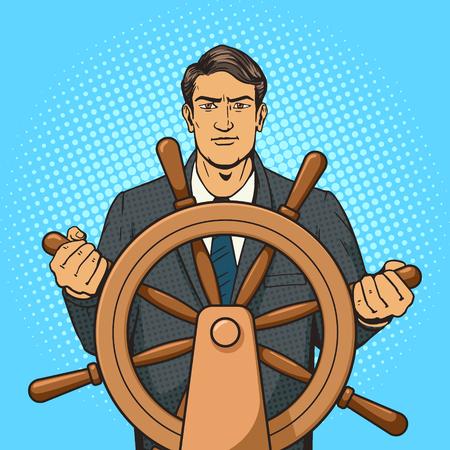 ship steering wheel: Businessman with ship steering wheel pop art vector illustration. Human illustration. Comic book style imitation. Vintage retro style. Conceptual illustration