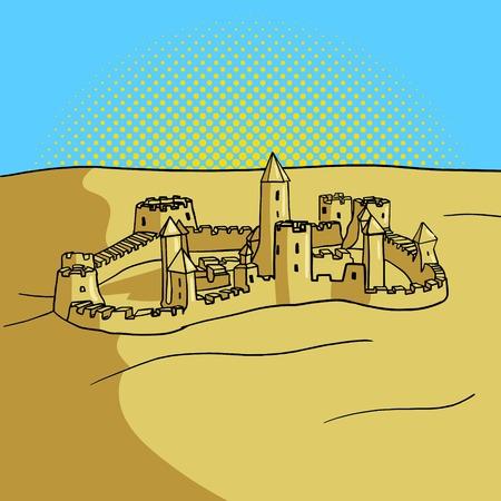 sand castle: Sand castle pop art style vector illustration. Comic book style imitation. Vintage retro style. Conceptual illustration