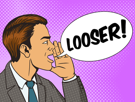looser: Man shouting looser with his hand in the face pop art style vector illustration. Human illustration. Comic book style imitation. Vintage retro style. Conceptual illustration