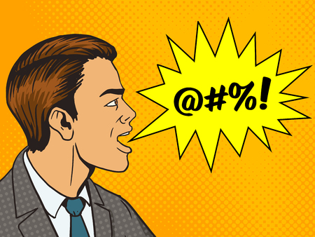 insult: Man shouting obscene word pop art style vector illustration. Human illustration. Comic book style imitation. Vintage retro style. Conceptual illustration
