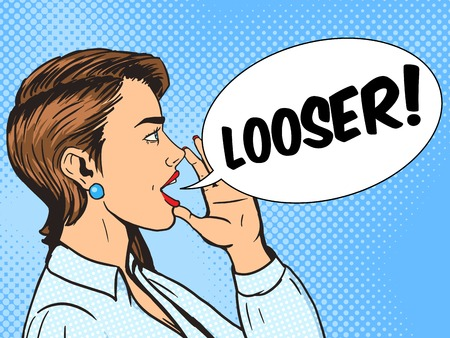 looser: Woman shouting looser with his hand in the face pop art style vector illustration. Human illustration. Comic book style imitation. Vintage retro style. Conceptual illustration Illustration