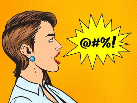 Woman shouting obscene word pop art style vector illustration. Human illustration. Comic book style imitation. Vintage retro style. Conceptual illustration