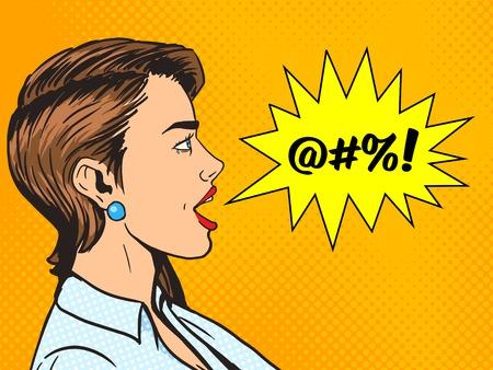 obscene: Woman shouting obscene word pop art style vector illustration. Human illustration. Comic book style imitation. Vintage retro style. Conceptual illustration Illustration