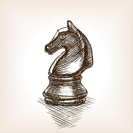 caballo de ajedrez: Caballero del ajedrez estilo de dibujo ilustración vectorial. Vieja mano dibuja la imitación de grabado. ilustración objeto de la vendimia Vectores