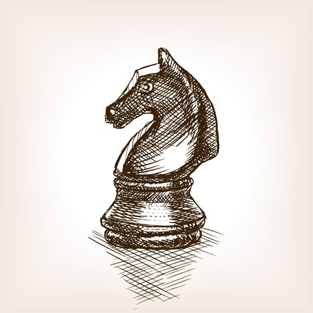 caballo de ajedrez: Chess knight sketch style vector illustration. Old hand drawn engraving imitation. Vintage object illustration Vectores
