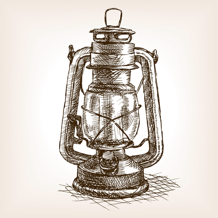 Vintage lantern sketch style vector illustration. Old hand drawn engraving imitation. Vintage object illustration