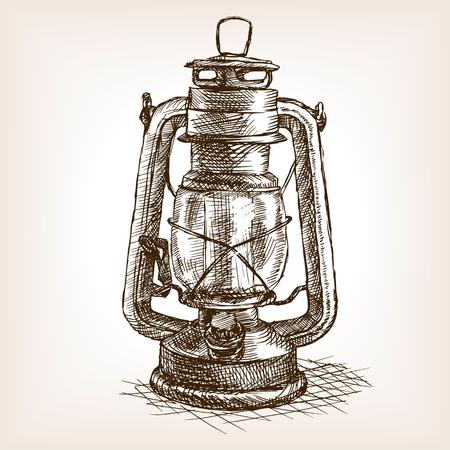 Vintage lanterna schizzo stile illustrazione vettoriale. Vecchio disegnata a mano incisione imitazione. oggetto illustrazione d'epoca Archivio Fotografico - 55145722